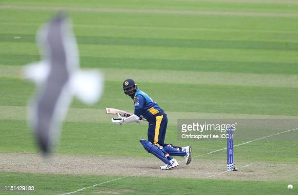 Angelo Mathews of Sri Lanka in action during the ICC Cricket World Cup 2019 Warm Up match between Sri Lanka and South Africa at Cardiff Wales Stadium...