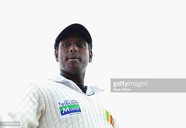 Angelo Mathews of Sri Lanka looks on during day two of the First Test match between Australia and Sri Lanka at Blundstone Arena on December 15 2012...