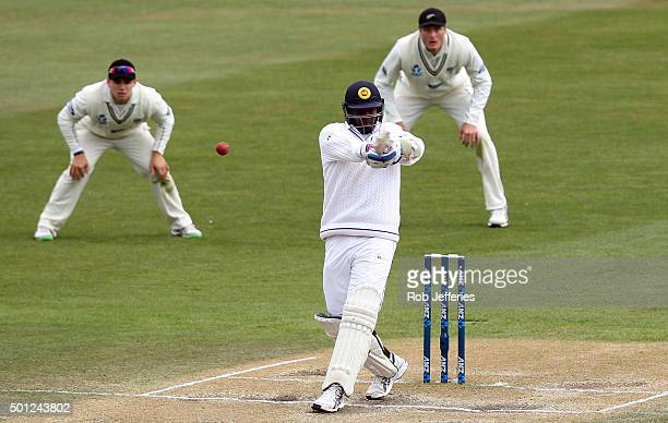 Angelo Mathews of Sri Lanka plays a pull shot during day five of the First Test match between New Zealand and Sri Lanka at University Oval on...