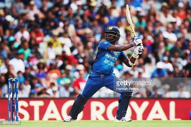 Angelo Mathews of Sri Lanka plays the ball away for four runs during the Twenty20 International match between New Zealand and Sri Lanka at Eden Park...