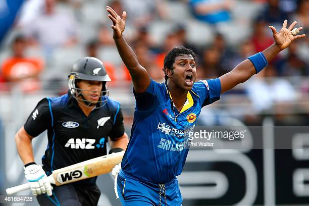 Angelo Mathews of Sri Lanka takes the LBW wicket of Ross Taylor of New Zeaand during the One Day International match between New Zealand and Sri...