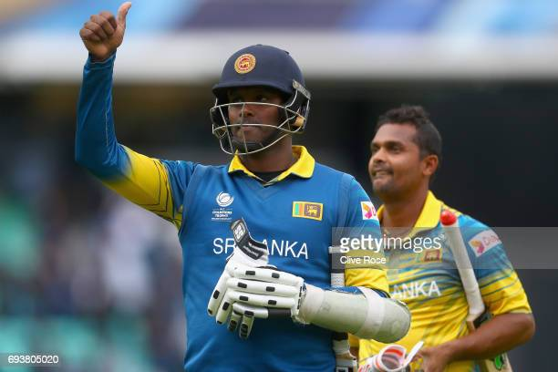 Angelo Matthews of Sri Lanka celebrates as Sri Lanka beat India during the ICC Champions trophy cricket match between India and Sri Lanka at The Oval...