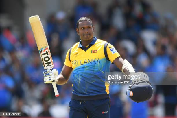 Angelo Matthews of Sri Lanka celebrates his century during the Group Stage match of the ICC Cricket World Cup 2019 between Sri Lanka and India at...