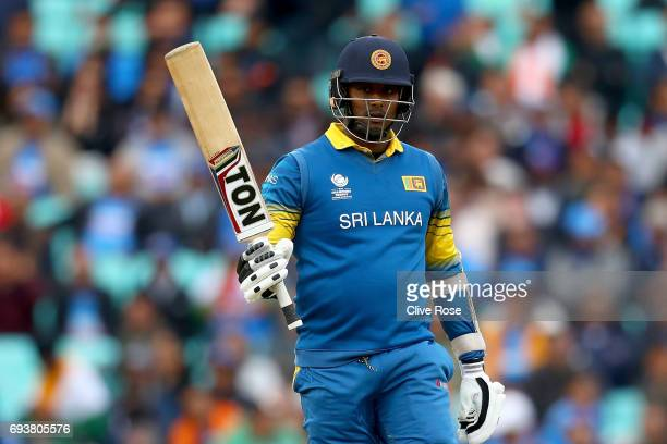 Angelo Matthews of Sri Lanka celebrates his half century during the ICC Champions trophy cricket match between India and Sri Lanka at The Oval in...