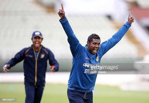 Angelo Matthews of Sri Lanka during a Sri Lanka nets session at Edgbaston on June 2, 2014 in Birmingham, England.