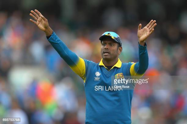 Angelo Matthews of Sri Lanka gives instructions in the field during the ICC Champions trophy cricket match between India and Sri Lanka at The Oval in...