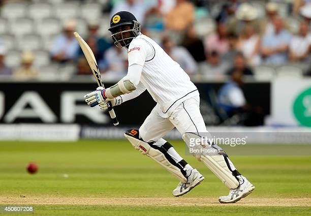 Angelo Matthews of Sri Lanka in action during day three of 1st Investec Test match between England and Sri Lanka at Lord's Cricket Ground on June 14...