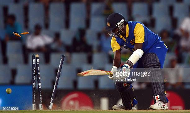 Angelo Matthews of Sri Lanka is bowled during The ICC Champions Trophy Group B match between South Africa and Sri Lanka played at Super Sport Park on...