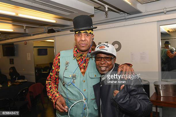 Angelo Moore of Fishbone with Apollo Theater Historian Billy Mitchell at The Apollo Theater on November 26 2016 in New York City
