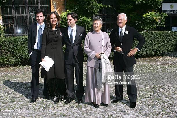 Angelo Moratti and wife Roberta Armani with Andrea Camarana his mother Rosanna and Giorgio Armani