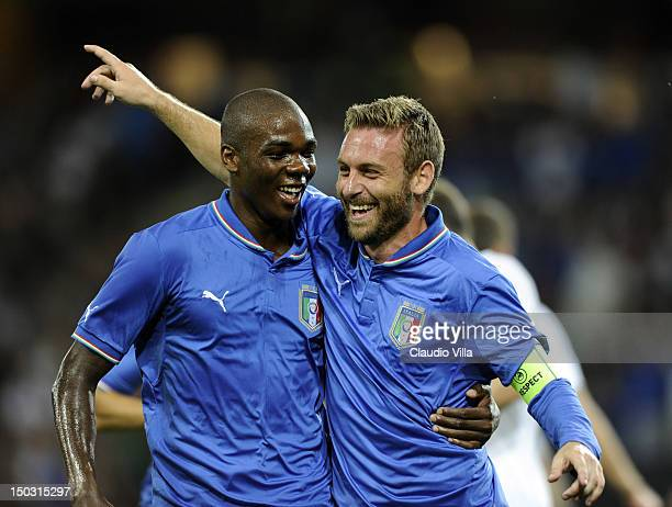 Angelo Ogbonna and Daniele De Rossi of Italy celebrates after scoring the first goal during the international friendly match between England and...