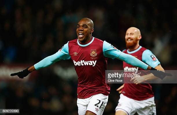 Angelo Ogbonna Obinza of West Ham United celebrates as he scores their second goal during the Emirates FA Cup Fourth Round Replay match between West...