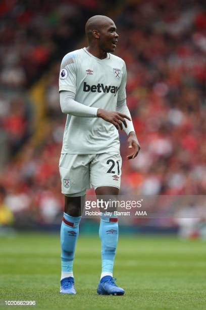 Angelo Ogbonna Obinze of West Ham United during the Premier League match between Liverpool FC and West Ham United at Anfield on August 12 2018 in...