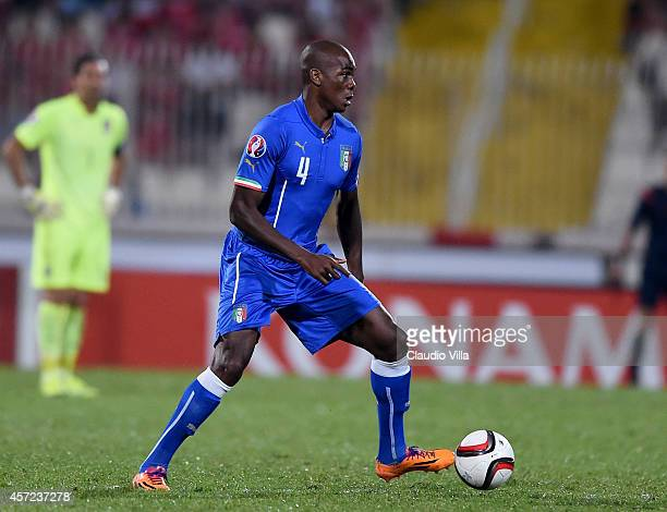 Angelo Ogbonna of Italy in action during the EURO 2016 Group H Qualifier match between Malta and Italy at Ta' Qali Stadium on October 13 2014 in...