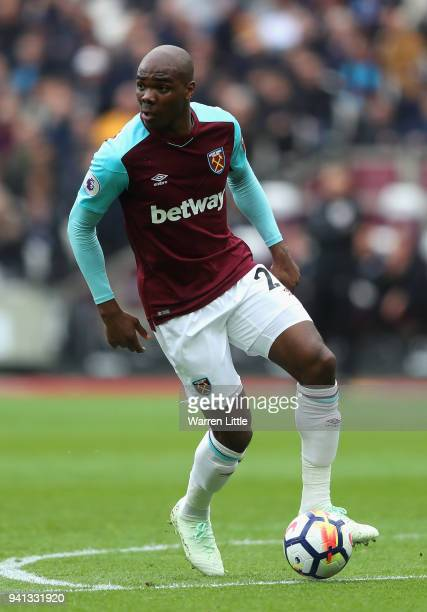 Angelo Ogbonna of West Ham in action during the Premier League match between West Ham United and Southampton at London Stadium on March 31 2018 in...