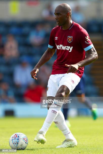 Angelo Ogbonna of West Ham passes the ball during the preseason friendly match between Wycombe Wanderers and West Ham United at Adams Park on July 14...
