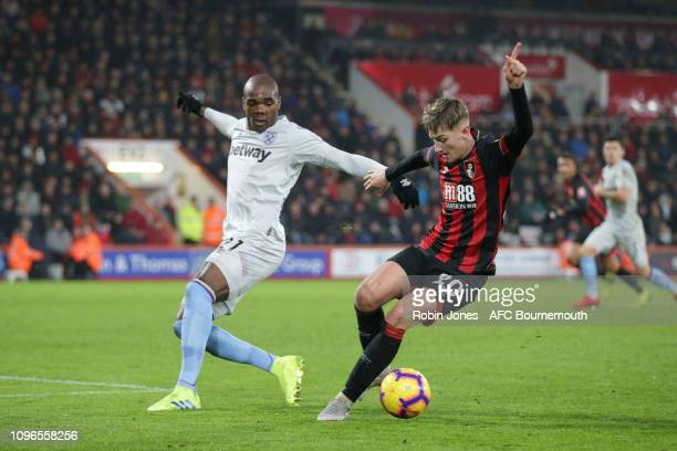 Angelo Ogbonna of West Ham United and David Brooks of Bournemouth during the Premier League match between AFC Bournemouth and West Ham United at...