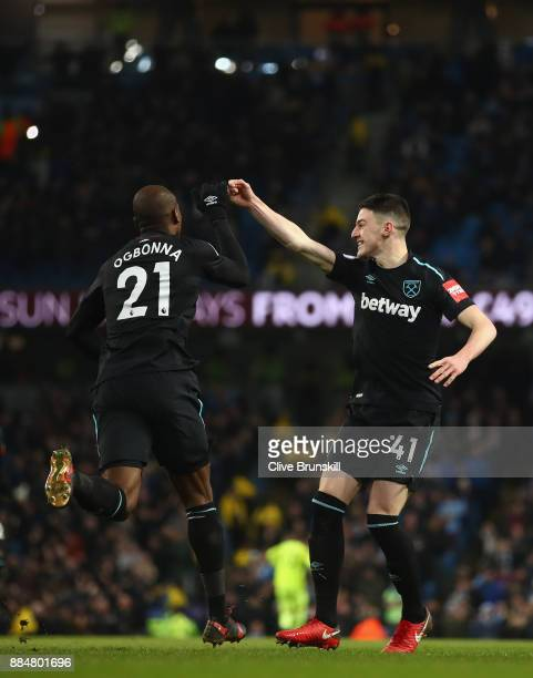 Angelo Ogbonna of West Ham United and Declan Rice of West Ham United celebrates after Angelo Ogbonna of West Ham United scored their sides first goal...