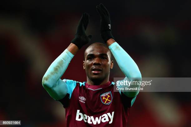 Angelo Ogbonna of West Ham United applauds the crowd after the Premier League match between Stoke City and West Ham United at Bet365 Stadium on...