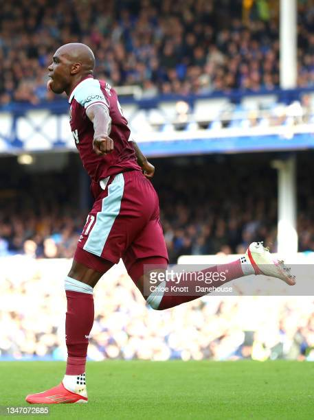 Angelo Ogbonna of West Ham United celebrates scoring his teams first goal during the Premier League match between Everton and West Ham United at...