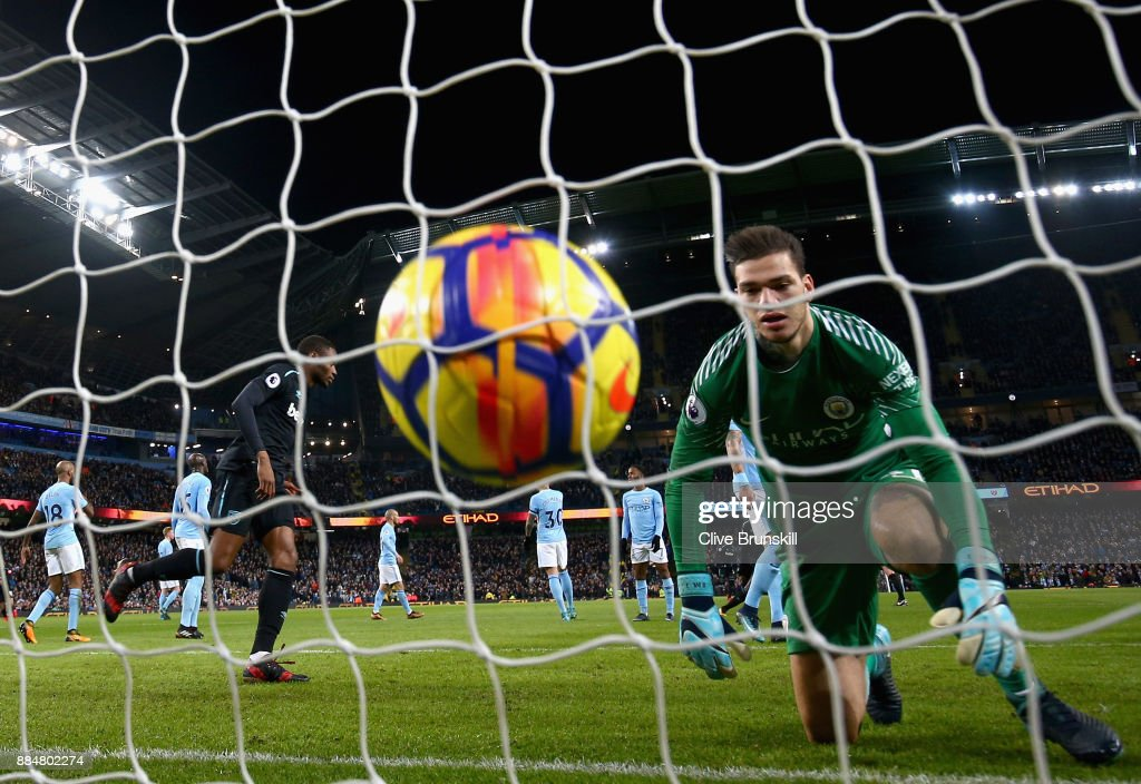Angelo Ogbonna of West Ham United (not pictured) scores his sides first goal past Ederson of Manchester City during the Premier League match between Manchester City and West Ham United at Etihad Stadium on December 3, 2017 in Manchester, England.