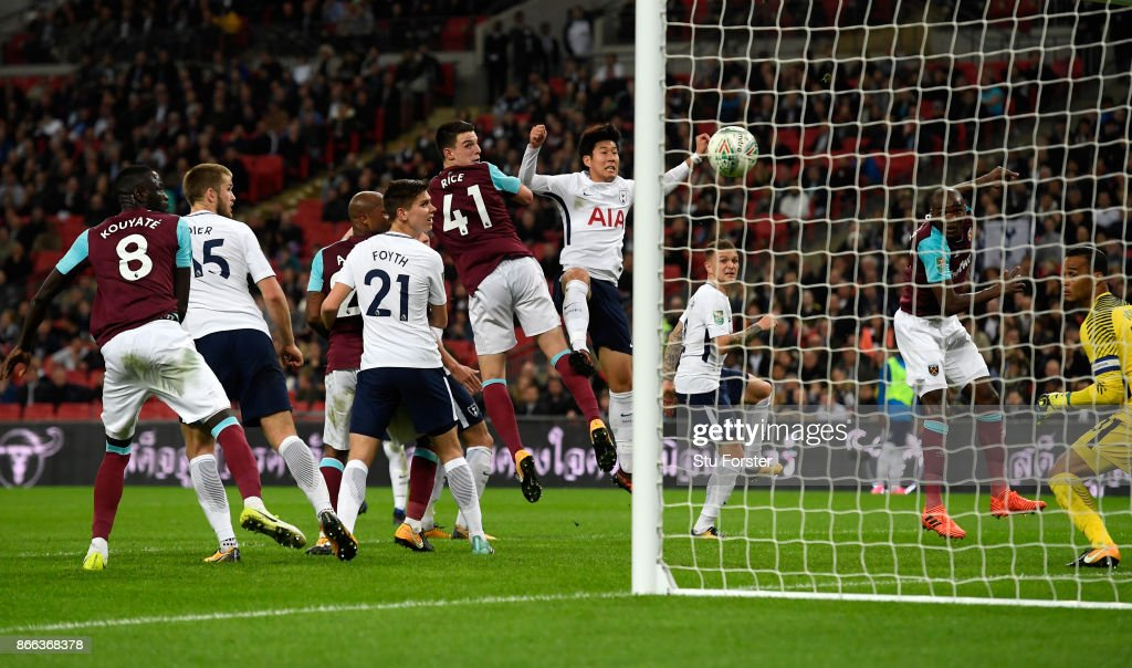 Angelo Ogbonna of West Ham United scores his side's third goal during the Carabao Cup Fourth Round match between Tottenham Hotspur and West Ham United at Wembley Stadium on October 25, 2017 in London, England.
