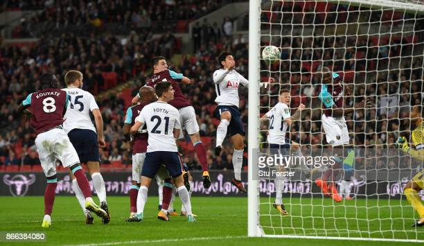 Angelo Ogbonna of West Ham United scores his side's third goal during the Carabao Cup Fourth Round match between Tottenham Hotspur and West Ham...