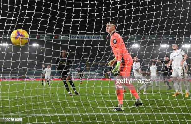 Angelo Ogbonna of West Ham United scores their sides second goal past Illan Meslier of Leeds United during the Premier League match between Leeds...