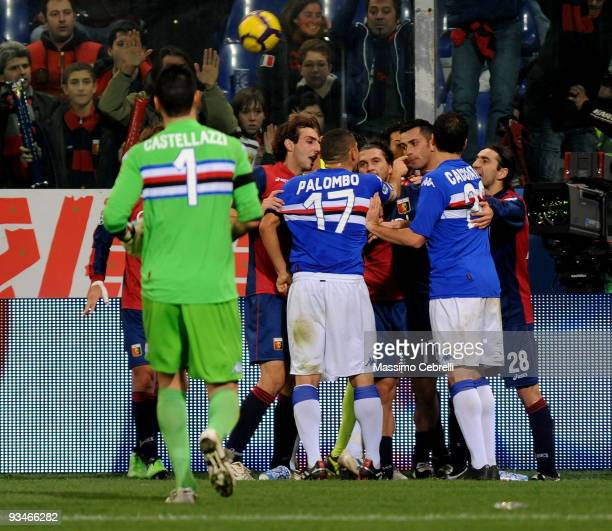 Angelo Palombo and Fabrizio Cacciatore of Sampdoria argue with Omar Milanetto Ivan Juric and Genoa players after Genoa's third goal is scored during...