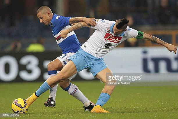 Angelo Palombo of UC Sampdoria battles for the ball with Marek Hamsik of SSC Napoli during the Serie A match between UC Sampdoria and SSC Napoli at...