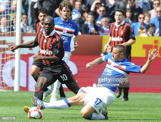 Angelo Palombo of UC Sampdoria battles fot the ball against Clarence Seedorf of AC Milan during the Serie A match between UC Sampdoria and AC Milan...