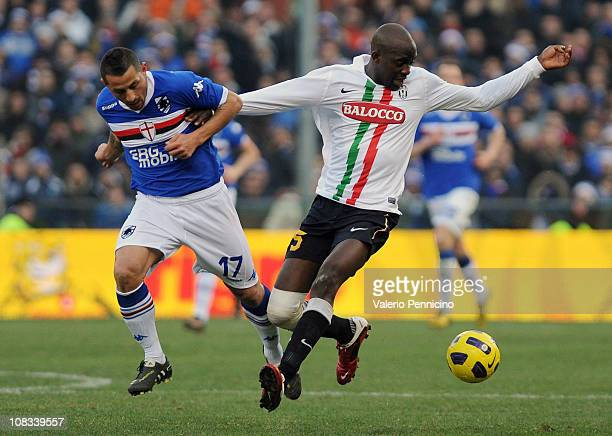 Angelo Palombo of UC Sampdoria makes a challenge on Mohamed Lamine Sissoko of Juventus FC during the Serie A match between UC Sampdoria and Juventus...