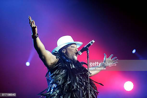 Angelo performs live for fans at the 2016 Byron Bay Bluesfest on March 24 2016 in Byron Bay Australia