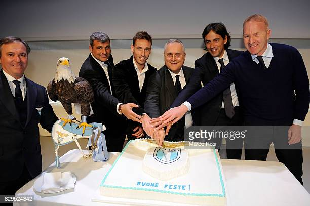 Angelo Peruzzi Lucas Biglia Claudio Lotito Simone Inzaghi and Igli Tare during SS Lazio Christmas Dinner on December 13 2016 in Rome Italy