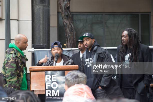 Angelo Pinto attends Meek Mill supporters protest on day of status hearing at Philadelphia Criminal Justice Center on April 16 2018 in Philadelphia...