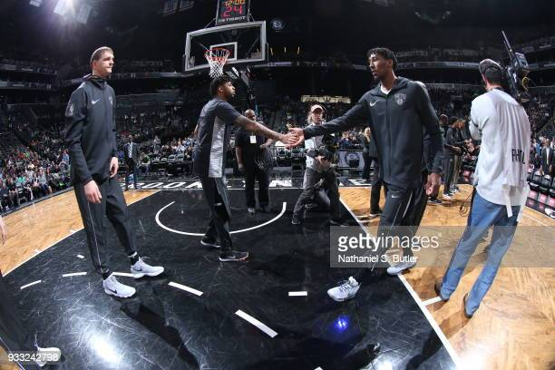 Angelo Russell and Rondae HollisJefferson of the Brooklyn Nets get introduced before the game against the Dallas Mavericks on March 17 2018 at...