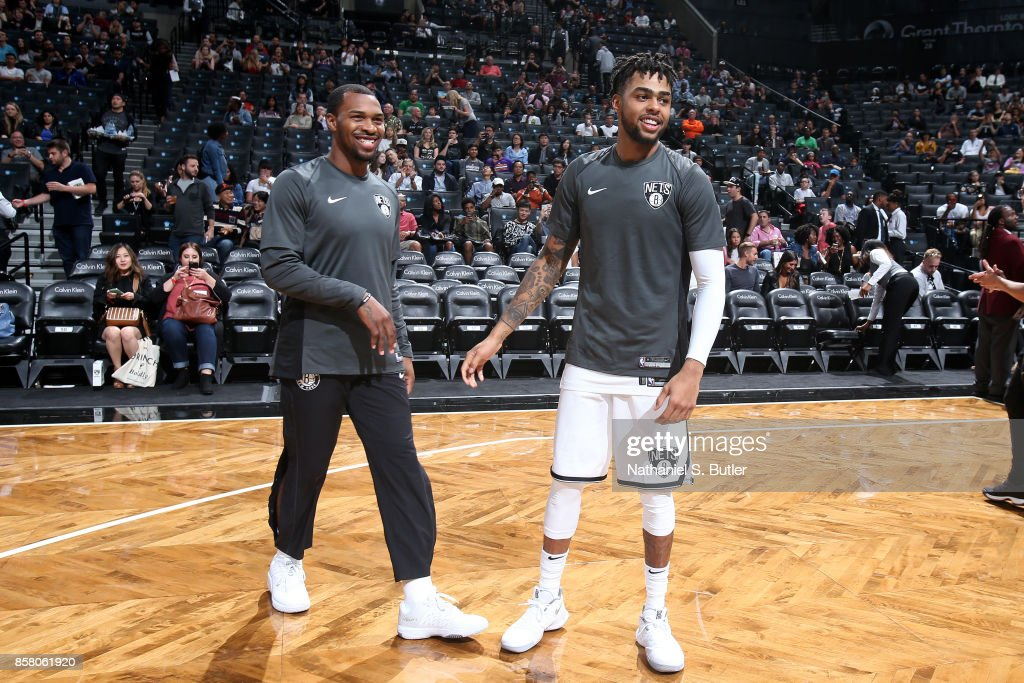 d angelo russell and sean kilpatrick of the brooklyn nets looks on