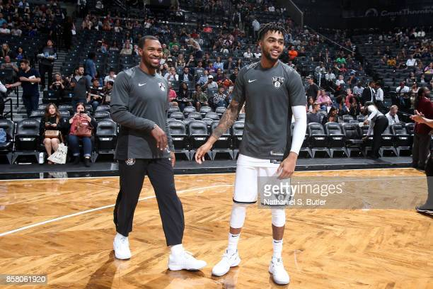 Angelo Russell and Sean Kilpatrick of the Brooklyn Nets looks on before the game against the Miami Heat during a preseason game on October 5 2017 at...