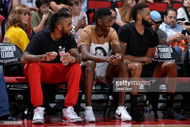 Angelo Russell Caris Levert and Allen Crabbe of the the Brooklyn Nets enjoy the game between the the Brooklyn Nets and the Houston Rockets during the...