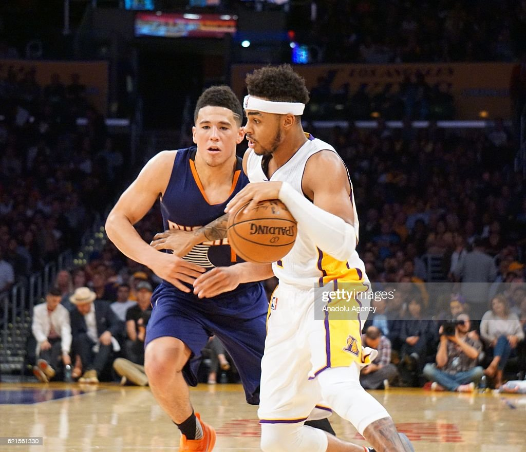 D'Angelo Russell (R) of Los Angeles Lakers in action against Devin Booker (L) of Phoenix Suns during a NBA game between Los Angeles Lakers and Phoenix Suns at Staples Center in Los Angeles, USA on November 06, 2016.