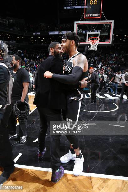 Angelo Russell of the Brooklyn Nets and Kyrie Irving of the Boston Celtics hug after the game on January 14 2019 at Barclays Center in Brooklyn New...