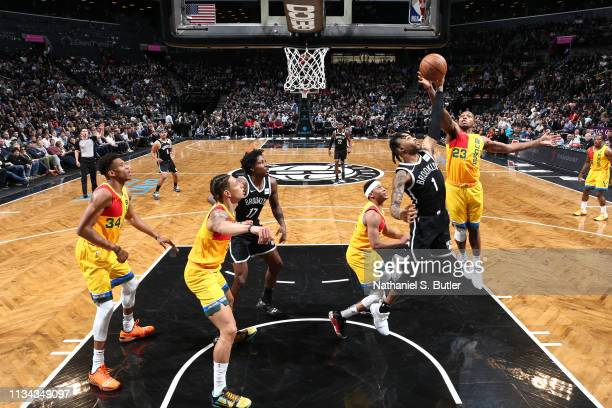 Angelo Russell of the Brooklyn Nets and Sterling Brown of the Milwaukee Bucks go up for the rebound on April 1 2019 at Barclays Center in Brooklyn...