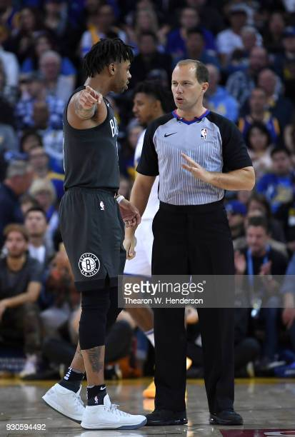 Angelo Russell of the Brooklyn Nets argues his case with referee John Goble during an NBA basketball game against the Golden State Warriors at ORACLE...