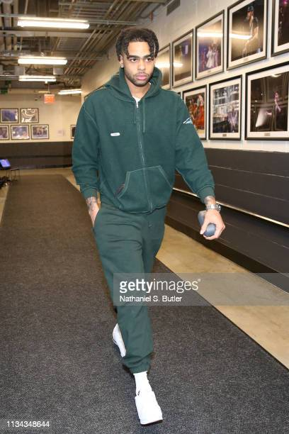 Angelo Russell of the Brooklyn Nets arrives at the arena before the game against the Milwaukee Bucks on April 1 2019 at Barclays Center in Brooklyn...