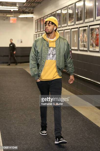 Angelo Russell of the Brooklyn Nets arrives before the game against the Cleveland Cavaliers on December 3 2018 at the Barclays Center in Brooklyn New...