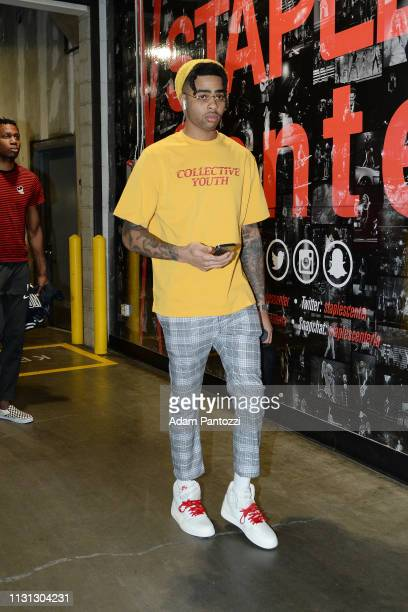 Angelo Russell of the Brooklyn Nets arrives before the game against the LA Clippers on March 17 2019 at STAPLES Center in Los Angeles California NOTE...