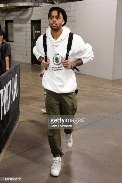 Angelo Russell of the Brooklyn Nets arrives before the game against the Portland Trail Blazers on March 25 2019 at the Moda Center in Portland Oregon...