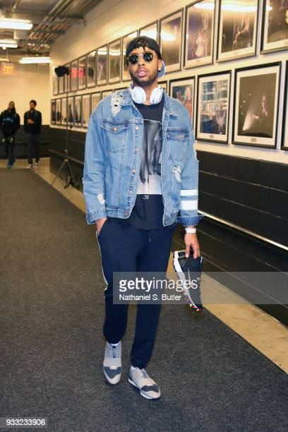 Angelo Russell of the Brooklyn Nets arrives before the game against the Dallas Mavericks on March 17 2018 at Barclays Center in Brooklyn New York...