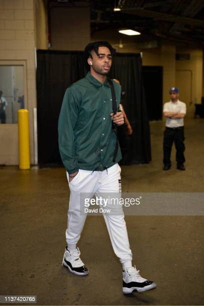 Angelo Russell of the Brooklyn Nets arrives to the arena prior to Game One of Round One of the 2019 NBA Playoffs against the Philadelphia 76ers on...