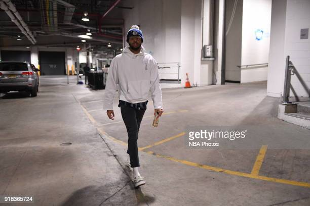 Angelo Russell of the Brooklyn Nets arrives to the arena prior to the game against the Indiana Pacers on February 14 2018 at Barclays Center in...